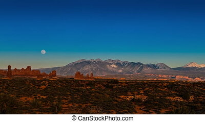 Full Moon Rising above La Sal Mountains Time-lapse 4k Arches...