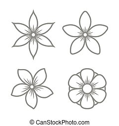 Jasmine Flower Icons Set on White Background. Vector...
