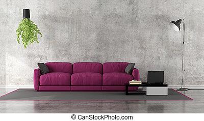 Minimalist living room with purple sofa