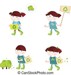 School children support recycling - Four cute children with...