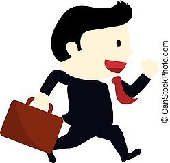 businessman running in a suitcase going to office