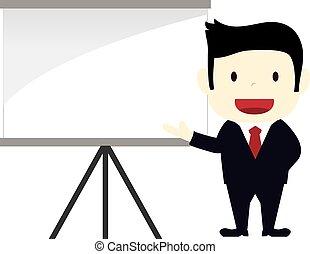 businessman presenting on a blank board