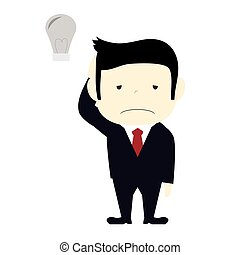 businessman with no idea - business with a lighbulb which is...
