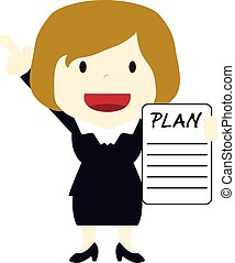 businesswoman with a paper to plan a business idea and...