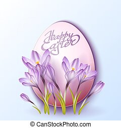 Egg in crocus flowers. Easter vector background