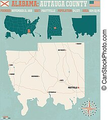 Autauga County in Alabama USA - Large and detailed map and...