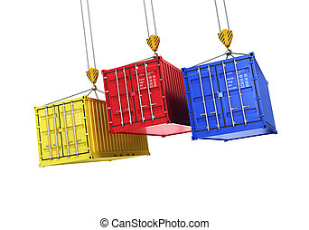 Four shipping containers during transport