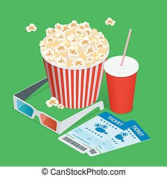 Set popcorn, drink, 3d glasses realistic vector isometric illustration. Cinema concept with movie theatre elements. Flat 3d isometric vector illustration.
