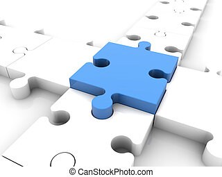 Concept with puzzle pieces in blue