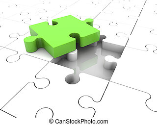 Concept with puzzle pieces in green