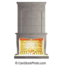 vector fireplace isolated on white