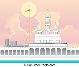 gurdwara with sunrise - a vector illustration in eps 10...