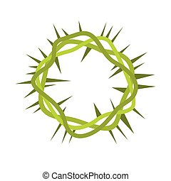 Crown of thorns icon in flat style isolated on white...