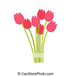 Pink tulips bouquet icon