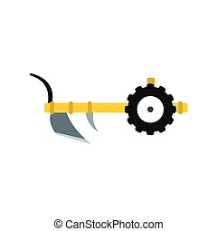 Plough icon flat - Plough icon in flat style isolated on...