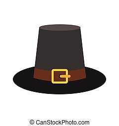 Gorgeous pilgrim hat icon in flat style isolated on white...