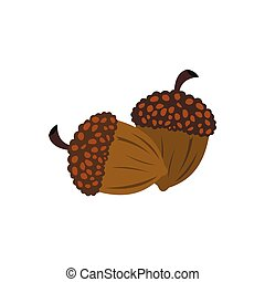 Acorn icon flat - Acorn icon in flat style isolated on white...