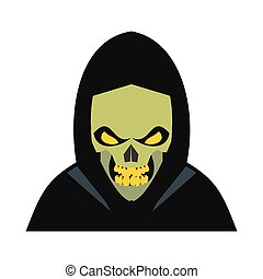 Skeleton icon flat - Skeleton icon in flat style isolated on...