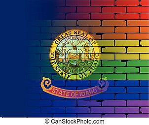 Rainbow Wall Idaho - A well worn wall painted with a LGBT...