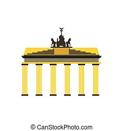 Brandenburg gate icon in flat style isolated on white...