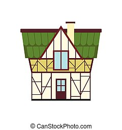 Half timbered house in Germany icon, flat style - Half...