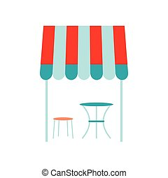 Street french cafe icon, flat style