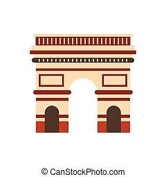 Triumphal arch icon, flat style - Triumphal arch, Paris icon...