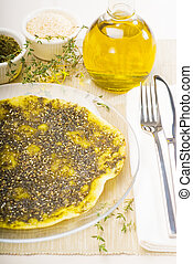 lebanese manouche or manoushe ,lebanese pizza with thyme and...