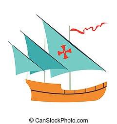 Santa Maria sailing ship icon, flat style - Santa Maria...