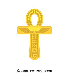 Gold Ankh Egypt icon, flat style - Gold Ankh Egypt icon in...