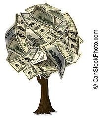Money Tree 2 - A graphic of a round shape tree with $100...