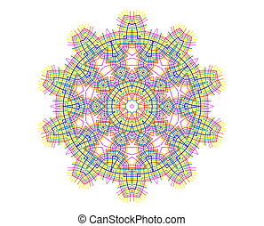 Abstract bright color concentric shape on white