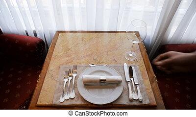 Service during dinner in restaurant