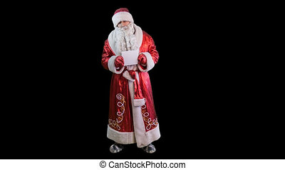 Santa Claus with plate PNG alpha channel green screen
