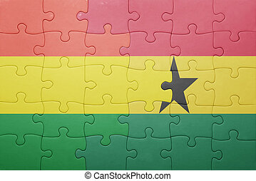 puzzle with the national flag of ghana and bolivia concept