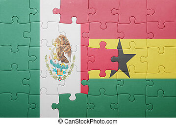 puzzle with the national flag of ghana and mexico - puzzle...
