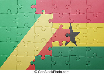 puzzle with the national flag of ghana and republic congo...