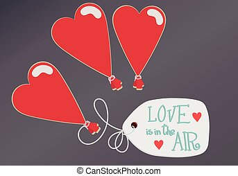 Three hart balloon with massage on paper