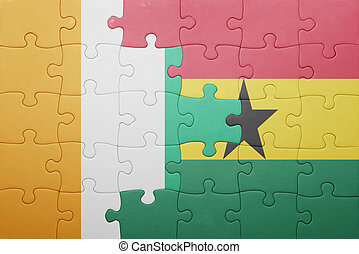 puzzle with the national flag of ghana and cote divoire...