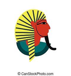 Egyptian pharaoh icon, flat style - Egyptian pharaoh icon in...