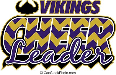 vikings cheerleader chevron team design for school, college...