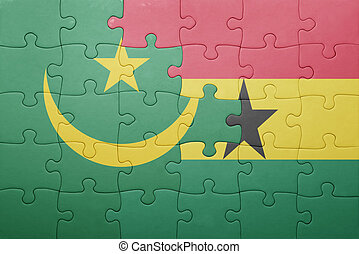 puzzle with the national flag of ghana and mauritania...