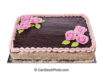 Celebratory chocolate cake with flowers of roses. On a white...