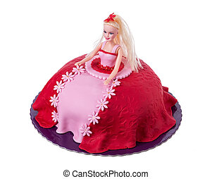 Cake doll for girls at birthday On a white background