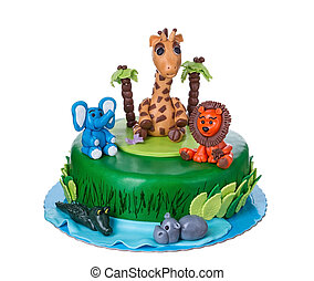 Decorative Cake tale with animals.