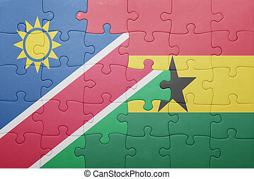 puzzle with the national flag of ghana and namibia concept