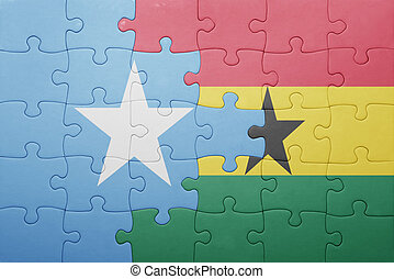 puzzle with the national flag of ghana and somalia . concept