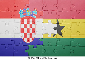 puzzle with the national flag of ghana and croatia concept