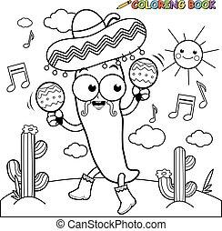 Mariachi chilli pepper with maracas - Vector black and white...