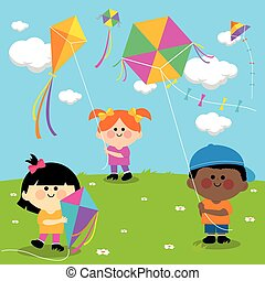 Children flying kites. - Vector illustration of children in...